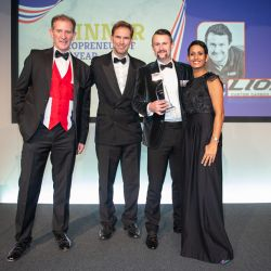 29. Heropreneurs Awards   Stuart Rock  Rt Hon Tobias Ellwood MP with Heropreneur of the Year  Steve McCulley and Naga Munchetty.